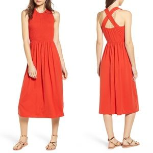 BP Orange Clay Smocked Midi Dress